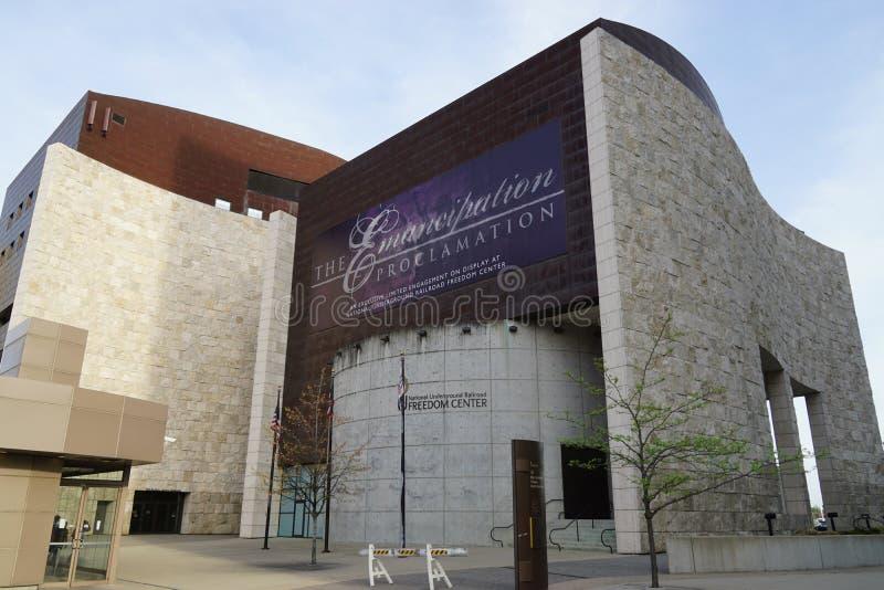 The National Underground Railroad Freedom Center is a museum in downtown Cincinnati. CINCINNATI, OH - Opened in 2004, the National Underground Railroad Freedom stock photos
