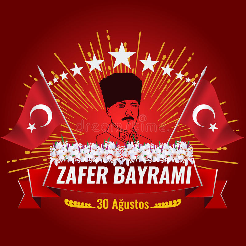 The National Victory Day of Turkey with turkish flag royalty free illustration