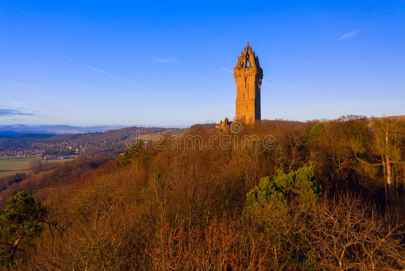 The National Wallace Monument is a tower standing on the shoulder of the Abbey Craig, a hilltop overlooking Stirling in Scotland stock image