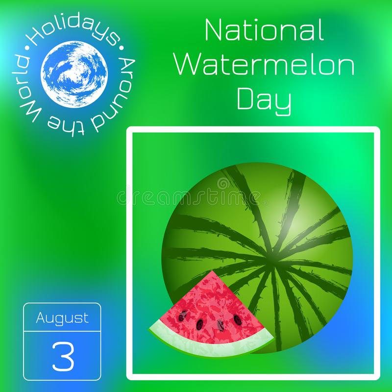National Watermelon Day. 3 August. Watermelon and cut slice. Series calendar. Holidays Around the World. Event of each vector illustration