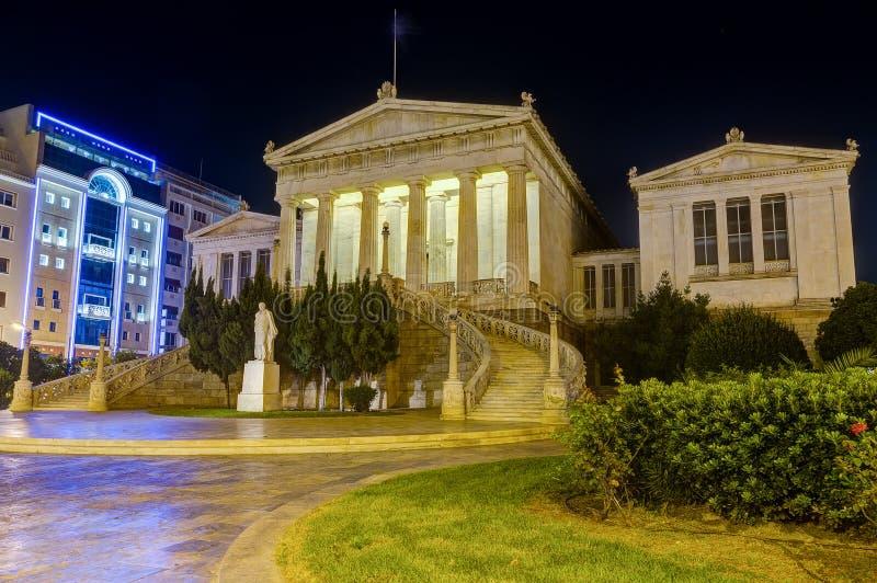 Nationalbibliothek von Griechenland nachts, Athen lizenzfreie stockfotografie