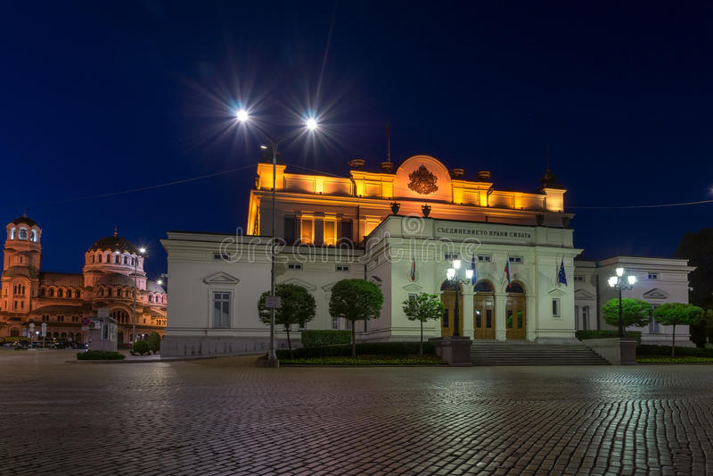 Nationale assemblee en Alexander Nevsky Cathedral in Sofia, Bulgarije stock afbeeldingen