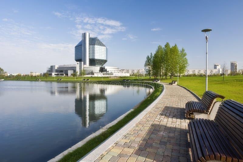 Nationale bibliotheek. Minsk. Wit-Rusland. Mening over bibliotheek stock fotografie