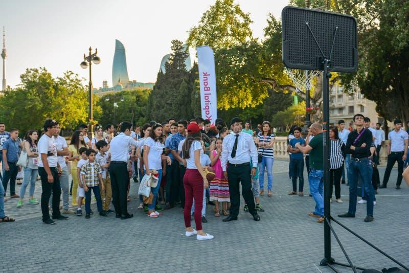 Nationale competities in kustpark in Baku stock foto