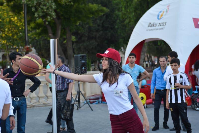 Nationale competities in kustpark in Baku stock fotografie