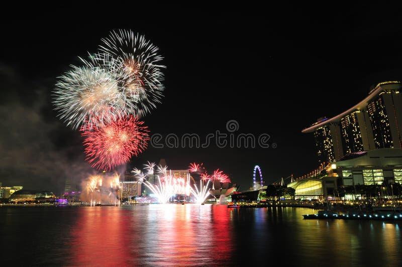 Nationale Dag 2012 van Singapore Vuurwerk stock afbeeldingen