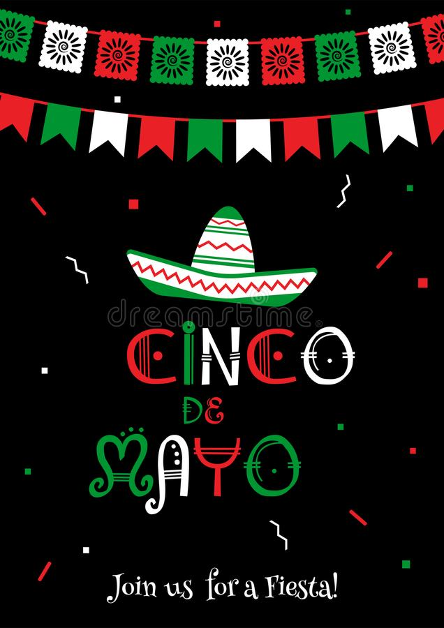 Nationale de fiestaaffiche van kleurencinco DE Mayo stock illustratie