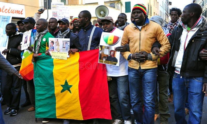 Nationale demonstratie tegen racisme in Italië stock foto