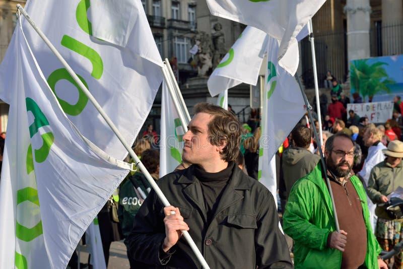 Nationale die manifestatie tegen versoberingsmaatregelen door Belgische overheid worden geïntroduceerd stock afbeelding