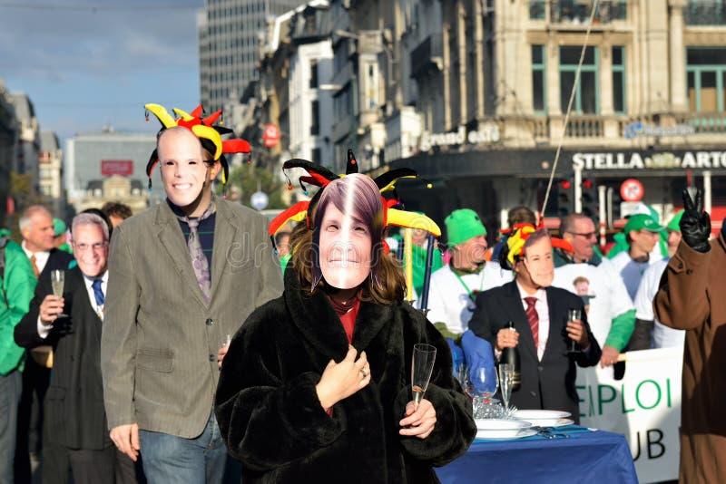 Nationale die manifestatie tegen versoberingsmaatregelen door Belgische overheid worden geïntroduceerd royalty-vrije stock foto