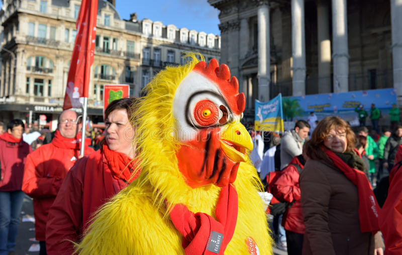 Nationale die manifestatie tegen versoberingsmaatregelen door Belgische overheid worden geïntroduceerd stock foto
