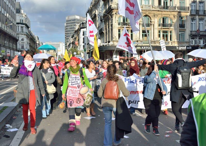 Nationale die manifestatie tegen versoberingsmaatregelen door Belgische overheid worden geïntroduceerd royalty-vrije stock fotografie