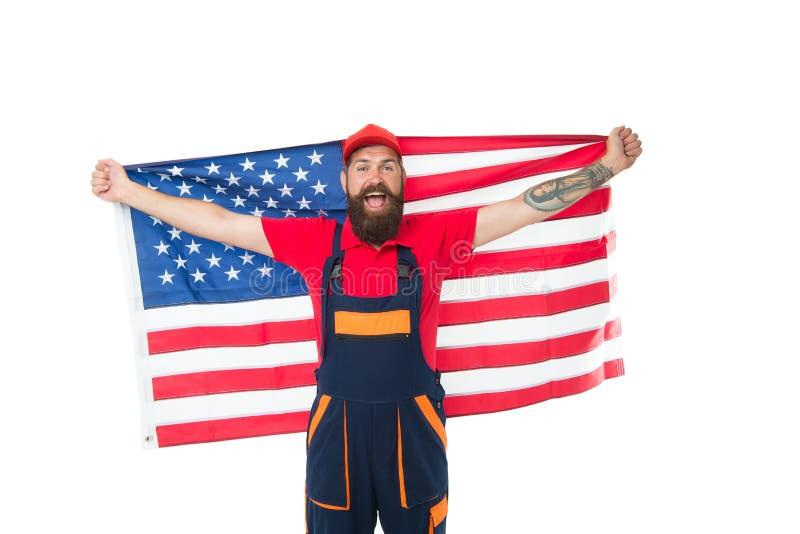 Nationale feestdag De arbeider viert onafhankelijkheidsdag Het werkvisum de V.S. De Amerikaanse vlag van de mensengreep Reparatie stock afbeelding