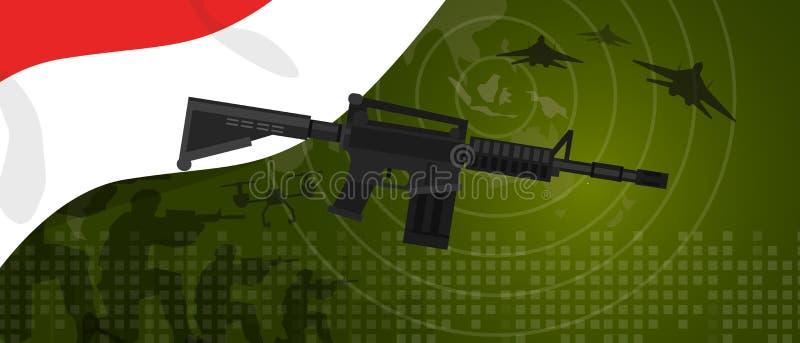 Nationale Feier des Indonesien-Militärmachtarmeerüstungsindustriekriegs- und -kampflandes mit Gewehrsoldatdüsenjäger vektor abbildung