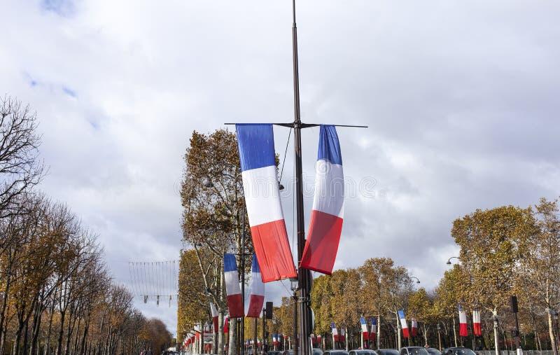 Nationale Franse vlaggen stock afbeeldingen