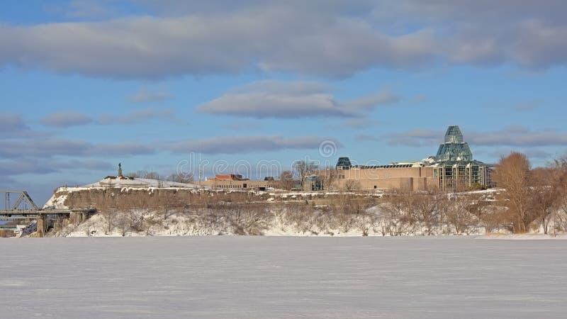 Nationale Galerie und nepean Punktausblickhügel, Ottawa an einem Wintertag lizenzfreie stockfotografie
