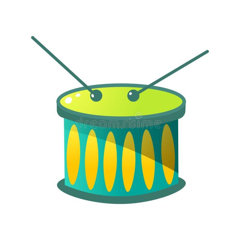 Nationale muzikale het instrumenten groene trommels van Brazilië met stokken vector illustratie