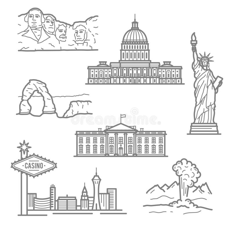 Nationale oriëntatiepunten van de pictogrammen van de V.S. in dunne lijnstijl vector illustratie