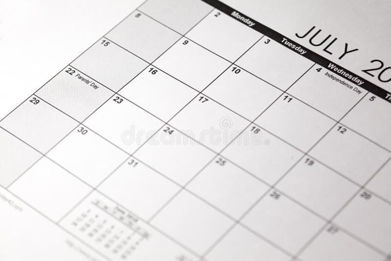 Nationale Ouders ` Dag 22 Juli ouder` s dag op de kalender stock afbeeldingen