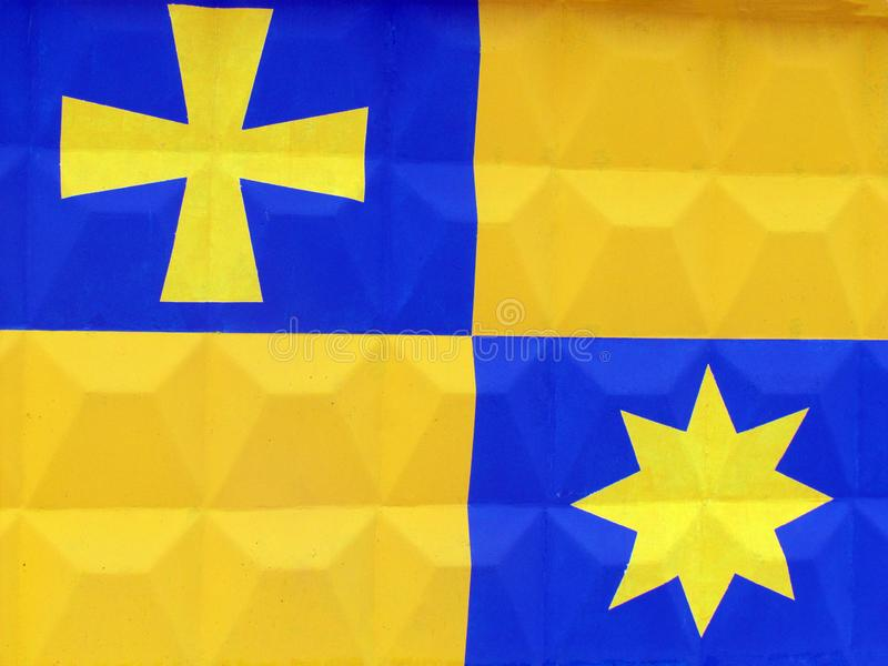 Nationale Sonderzeichen und Flaggen von Bezirken von Poltava-Region vektor abbildung