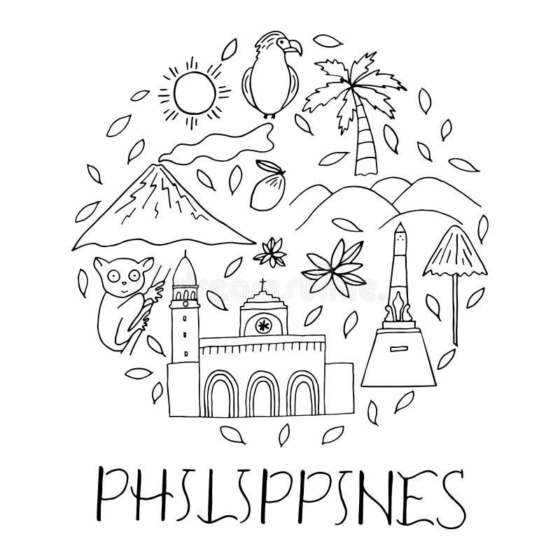 Nationale Sonderzeichen von Philippinen in der Kreisform lizenzfreie abbildung