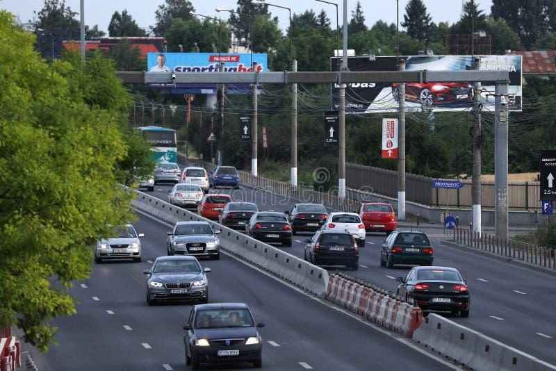 Nationale Straße Bukarests gesehen von oben lizenzfreies stockbild