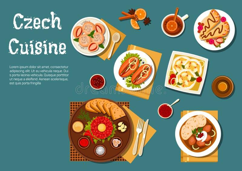 Nationale Tsjechische keuken voedzame schotels royalty-vrije illustratie