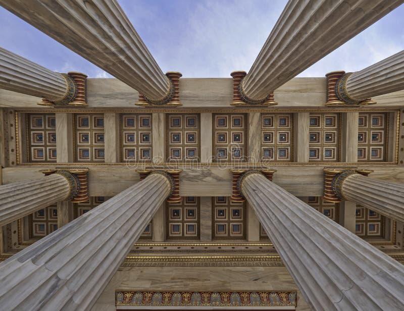 Nationale Universität von Athen Griechenland, Decke des Eingangs stockfotos