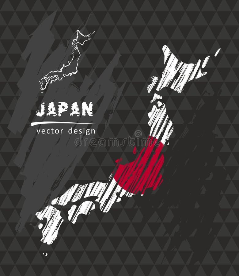 Nationale Vektorkarte Japans mit Skizzenkreideflagge Gezeichnete Illustration der Skizzenkreide Hand lizenzfreie abbildung