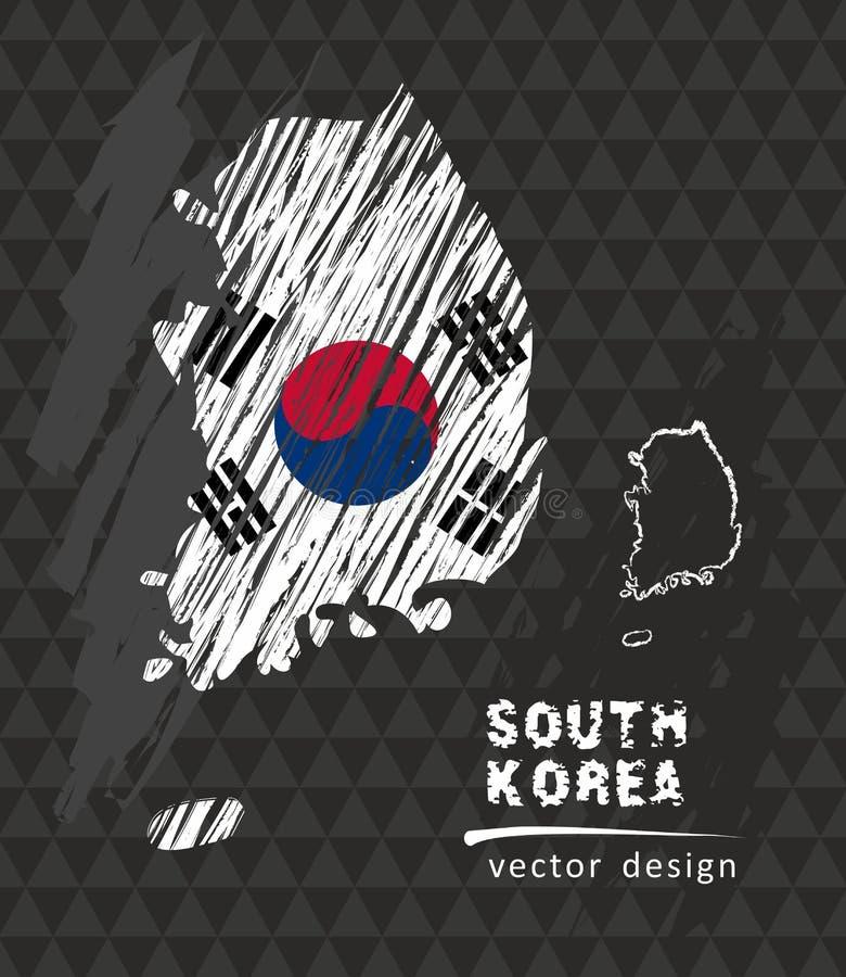 Nationale Vektorkarte Südkoreas mit Skizzenkreideflagge Gezeichnete Illustration der Skizzenkreide Hand stock abbildung