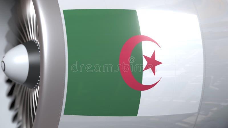 Nationale vlag van Algerije op de motor van vliegtuigtourbine De luchtvaart bracht het 3D teruggeven met elkaar in verband stock illustratie