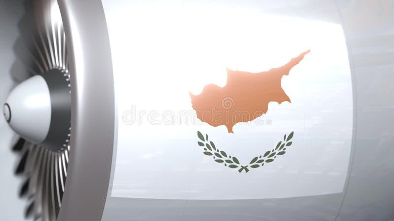 Nationale vlag van Cyprus op de motor van lijnvliegtuigtourbine De luchtvaart bracht het 3D teruggeven met elkaar in verband stock illustratie
