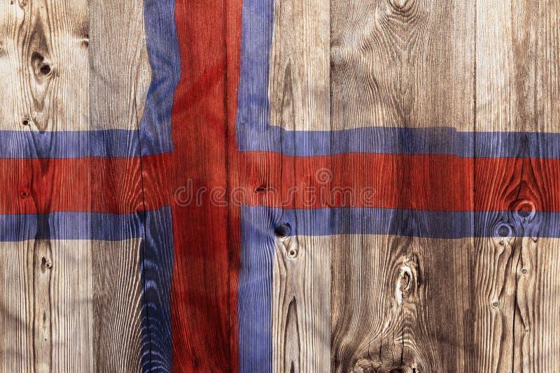Nationale vlag van de Faeröer, houten achtergrond royalty-vrije stock foto