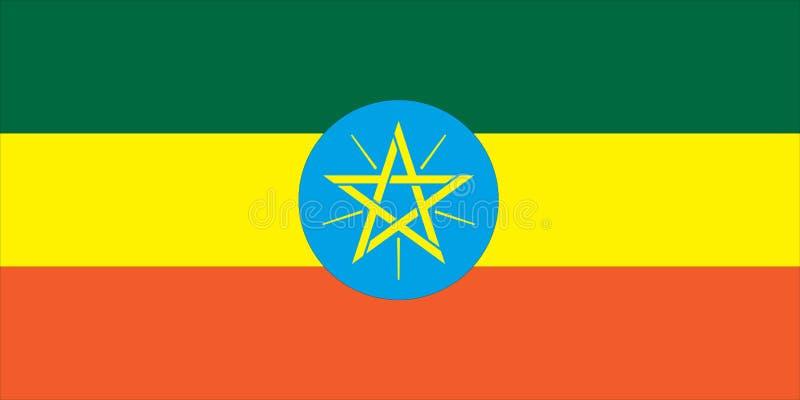 Nationale vlag van Ethiopië vector illustratie