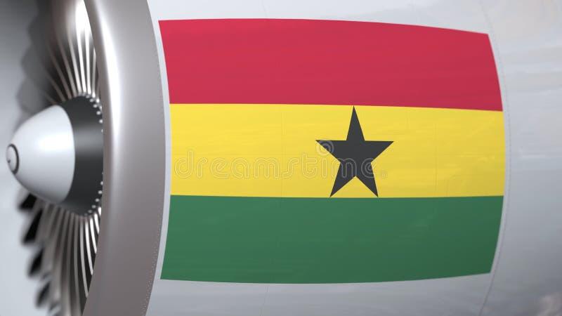 Nationale vlag van Ghana op de motor van vliegtuigtourbine De luchtvaart bracht het 3D teruggeven met elkaar in verband royalty-vrije illustratie