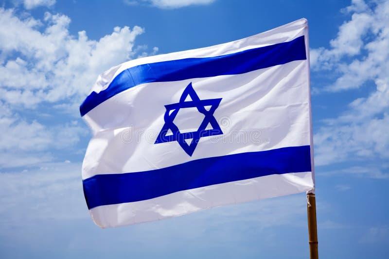 Nationale vlag van Israël in openlucht stock afbeeldingen