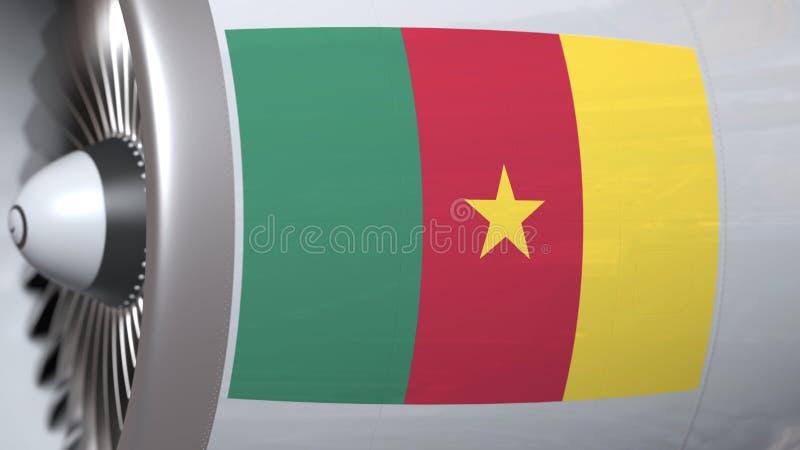 Nationale vlag van Kameroen op de motor van lijnvliegtuigtourbine De luchtvaart bracht het 3D teruggeven met elkaar in verband stock illustratie