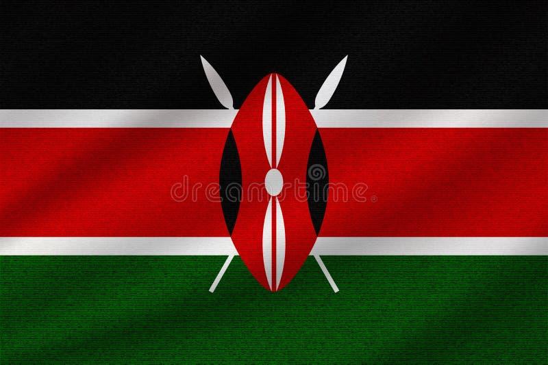 Nationale vlag van Kenia stock illustratie