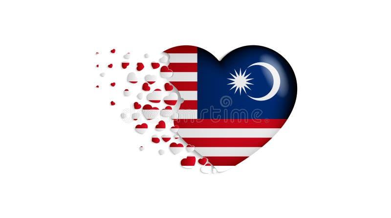 Nationale vlag van Maleisië in hartillustratie Met liefde aan het land van Maleisië De nationale vlag van de vlieg uit kleine har stock illustratie