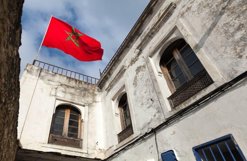 Nationale vlag van Marokko in Medina, Tanger stock foto's