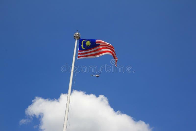 Nationale vlag van merdecavierkant van Maleisië stock afbeelding