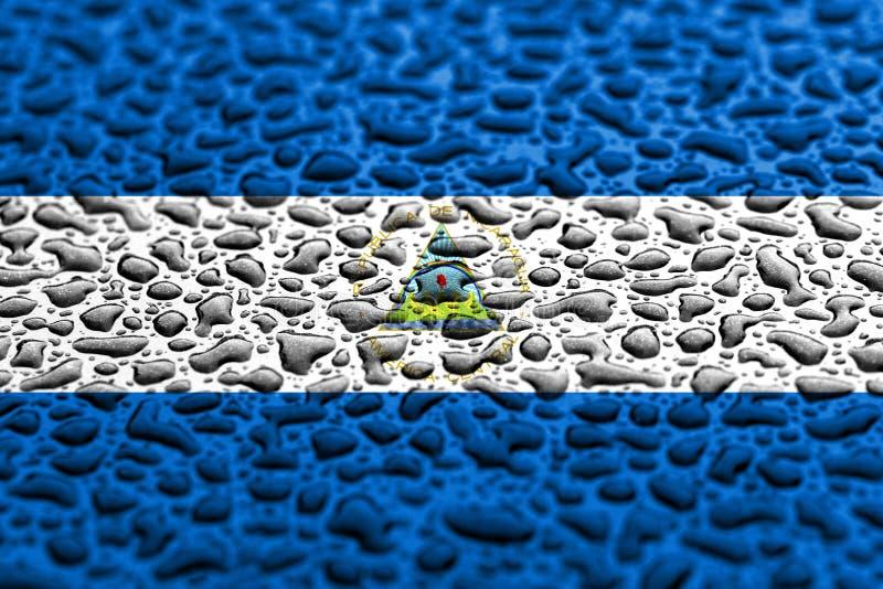 Nationale vlag van Nicaragua dat van waterdalingen wordt gemaakt De achtergrond voorspelde concept stock fotografie
