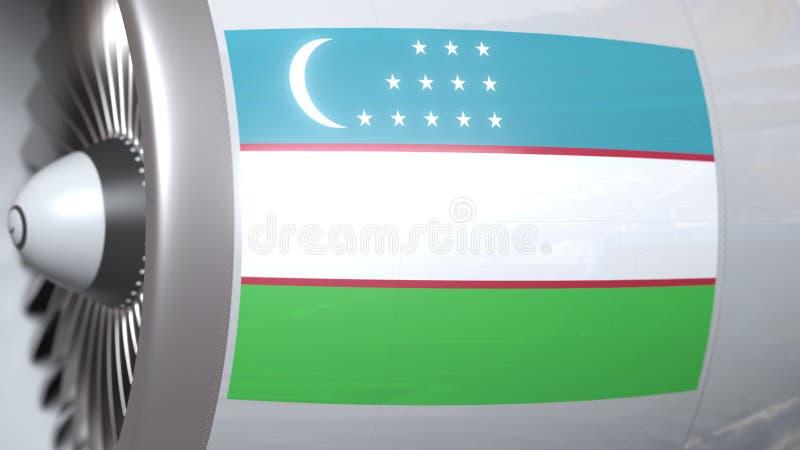 Nationale vlag van Oezbekistan op de motor van lijnvliegtuigtourbine De luchtvaart bracht het 3D teruggeven met elkaar in verband royalty-vrije illustratie
