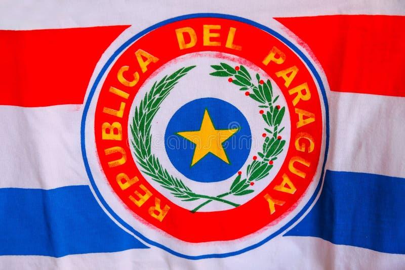 Nationale vlag van Paraguay royalty-vrije stock afbeeldingen