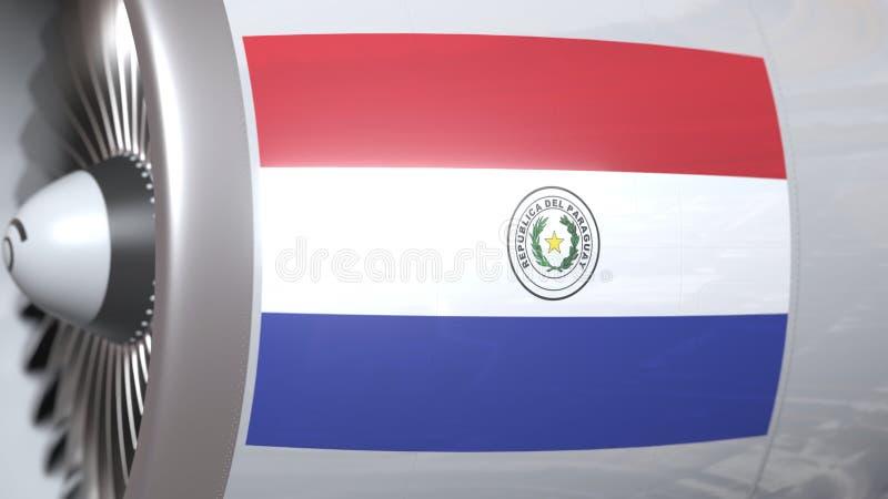 Nationale vlag van Paraguay op de motor van vliegtuigtourbine De luchtvaart bracht het 3D teruggeven met elkaar in verband vector illustratie