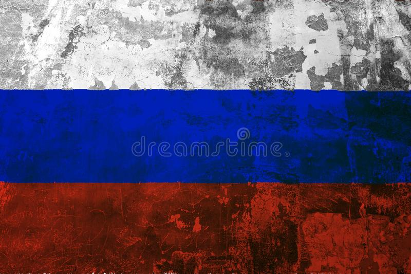 Nationale vlag van Rusland op de achtergrond van de oude muur vector illustratie