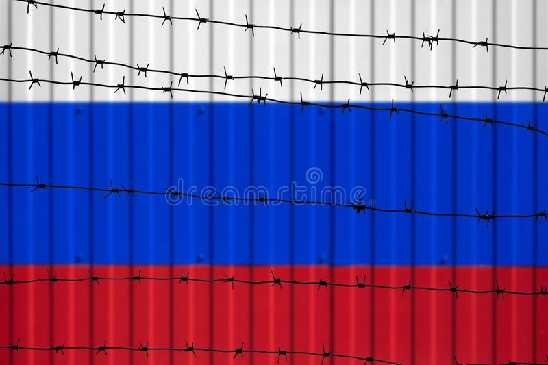 Nationale vlag van Rusland op omheining stock foto's