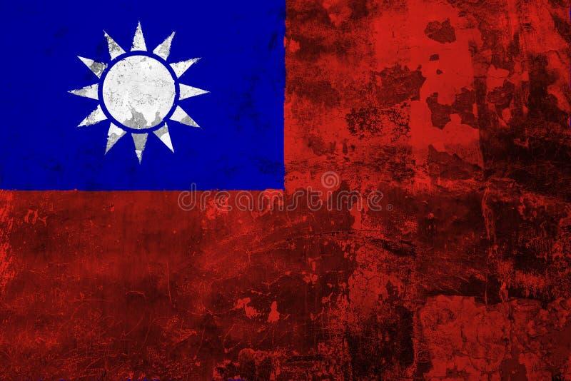 Nationale vlag van Taiwan op de achtergrond van de oude muur stock illustratie