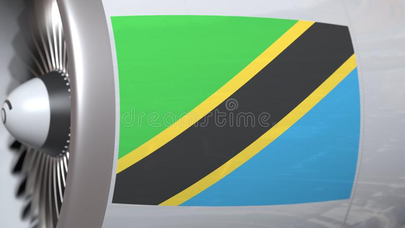Nationale vlag van Tanzania op de motor van vliegtuigtourbine De luchtvaart bracht het 3D teruggeven met elkaar in verband vector illustratie