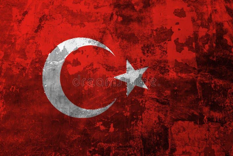 Nationale vlag van Turkije op de achtergrond van de oude muur royalty-vrije illustratie